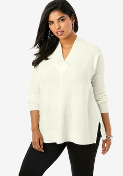 Soft Luxe V-Neck Sweater, IVORY