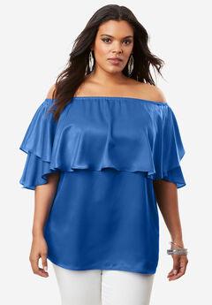 Off-The-Shoulder Ruffle Top, LAPIS BLUE, hi-res