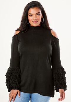 Cold-Shoulder Loop-Sleeve Sweater,