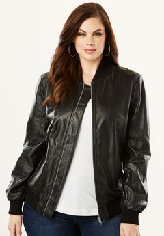 Leather Bomber Jacket, , hi-res