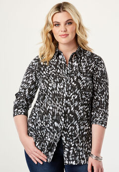 Three-Quarter Sleeve Kate Shirt, BLACK GRAPHIC ANIMAL
