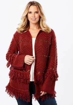 Embellished Cardigan with Fringe,