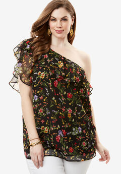 One-Shoulder Ruffle Top, DITSY FLORAL, hi-res