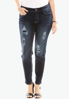 Sequin Skinny Leg Jean by Denim 24/7®, DARK SAPPHIRE, hi-res
