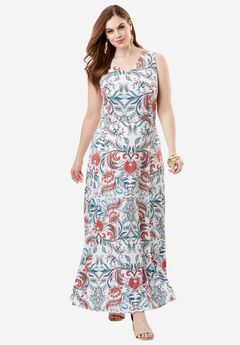 V-Neck Flared Maxi Dress, MULTI PAISLEY PRINT, hi-res