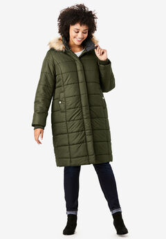Mid-Length Quilted Parka with Hood, DARK OLIVE GREEN