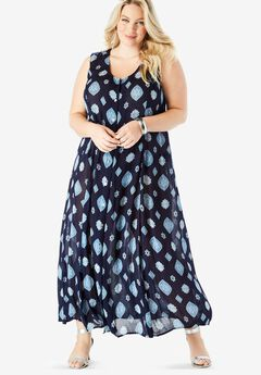 Button-Front Everywhere Crinkle Dress, NAVY MEDALLION