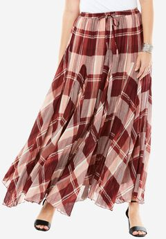 Print Maxi Skirt, BRICK RED PLAID, hi-res
