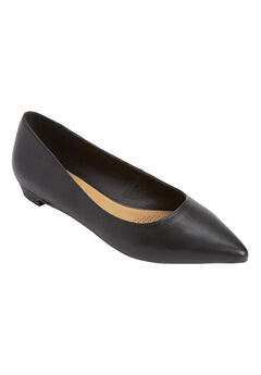 Olive Leather-Like Flat by Comfortview®, BLACK, hi-res