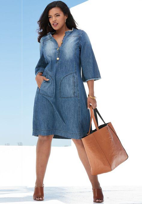 Denim Shirt Dress | Plus Size Casual Dresses | Roaman\'s