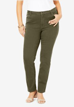 Straight-Leg Jean with Invisible Stretch® by Denim 24/7®, DARK OLIVE GREEN