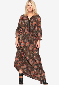 Paisley Maxi Dress with Drawstring by Castaluna,