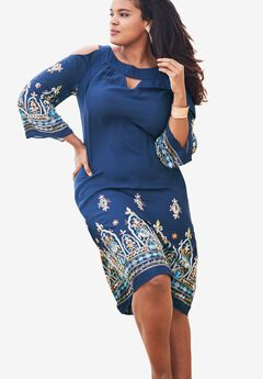 Cold-Shoulder Keyhole Dress, NAVY, hi-res