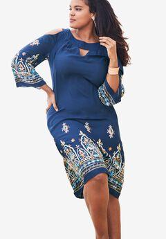 Cold-Shoulder Keyhole Dress,