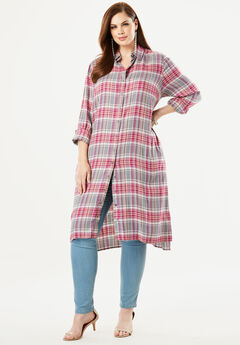Button-Front Ultra Tunic, ROSE MIXED PLAID
