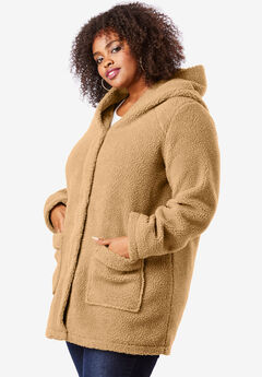 Hooded Textured Fleece Coat,