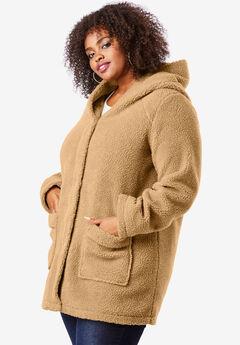 Hooded Textured Fleece Coat, CAMEL