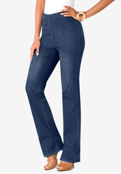 Bootcut Pull-On Stretch Jean, MEDIUM STONEWASH SANDED