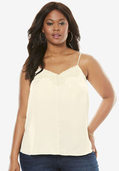 Silky Lace Trim Cami, IVORY, hi-res