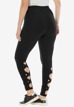 Crisscross Cropped Legging, BLACK, hi-res