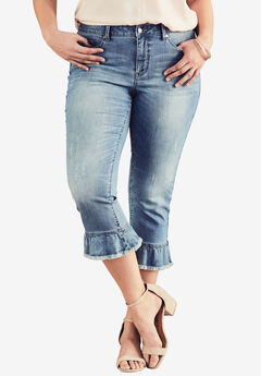 Ruffle Ankle Jean by Denim 24/7®, MEDIUM WASH, hi-res