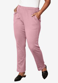 Soft Knit Straight-Leg Pants, ROSE MIST