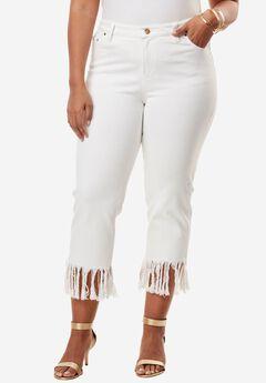Fringed Hem Jeans by Denim 24/7, WHITE, hi-res
