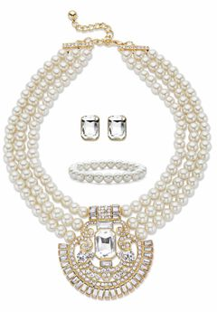 "Gold Tone Simulated Pearl Bib 17"" Necklace Set with Emerald Cut Crystals,"