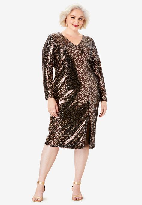 V-Neck Sequin Dress| Plus Size Formal & Special Occasion ...