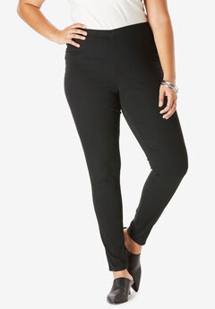 Skinny-Leg Pull-On Stretch Denim Jean by Denim 24/7®, BLACK DENIM