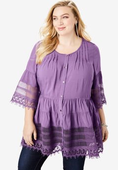 Illusion Lace Tunic, PLUM GRAPE