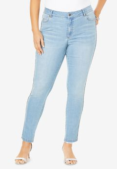 Statement Stripe Skinny Jean by Denim 24/7®, BEADING