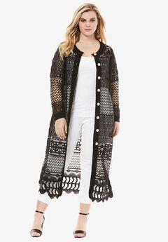 Long Lace Crochet Cardigan, BLACK, hi-res