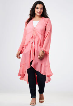 Flyaway Sheer Shirt with Ruffles,
