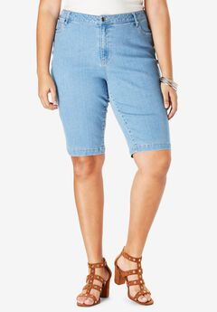 Bermuda Shorts with Invisible Stretch® Waistband by Denim 24/7®, LIGHT WASH