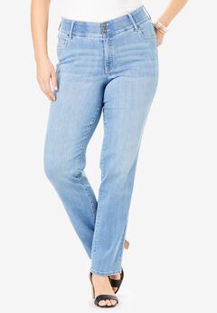 The Straight-Leg Curvy Jean by Denim 24/7®, LIGHT WASH