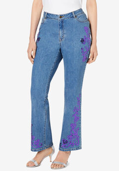 Sequin-Embellished Bootcut Jean,