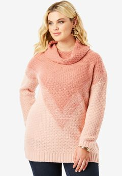 Ombre Pattern Sweater, DUSTY ROSE COMBO
