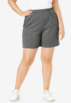 Soft Knit Shorts, MEDIUM HEATHER GREY