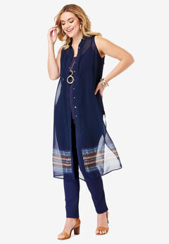Sleeveless Mega Tunic, MULTI ETHNIC BORDER