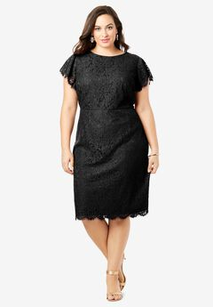 Lace Sheath Dress with Flutter Sleeves, BLACK