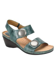 Pamela Leather Wedge Sandal by Softspots®, TEAL, hi-res
