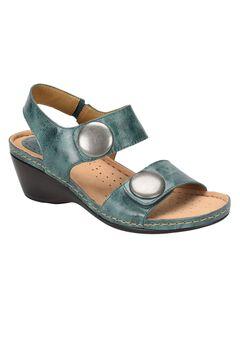 Pamela Leather Wedge Sandal by Softspots®, TEAL, hi-res
