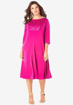 Ultrasmooth® Embellished Swing Dress,
