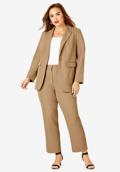 Straight-Leg Pantsuit with Blazer, SOFT CAMEL