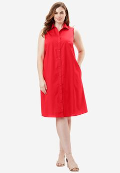 The Sleeveless Kate Dress, HOT RED, hi-res