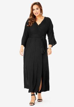 Crinkle Belted Maxi Dress, BLACK