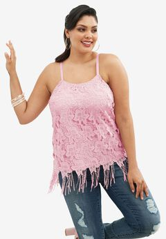 Scoopneck Lace Cami with Fringe Hem, MISTY ROSE, hi-res
