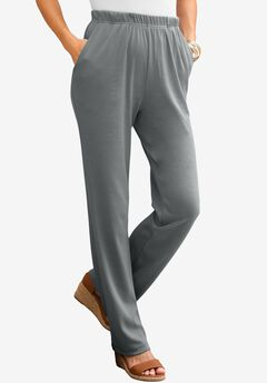 Soft Knit Straight-Leg Pants, SLATE