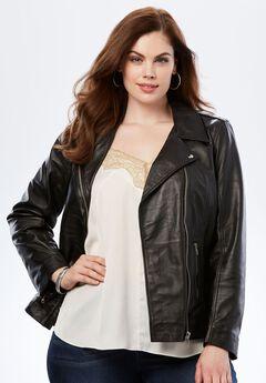 Leather Motorcycle Jacket, BLACK, hi-res